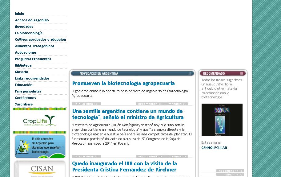 Pagina de ArgenBio