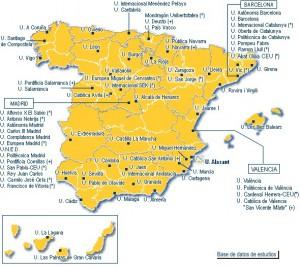 Las 74 Universidades españolas. De ellas, 32 se han creado en los  últimos 25 años
