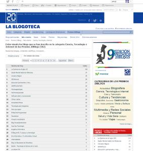 Mejor blog de Ciencia  Tecnología e Internet   9ª edición de los Premios 20Blogs   20minutos.es
